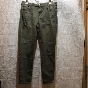 Celebrity Pink Mid Rise Army Green Skinny Jeans